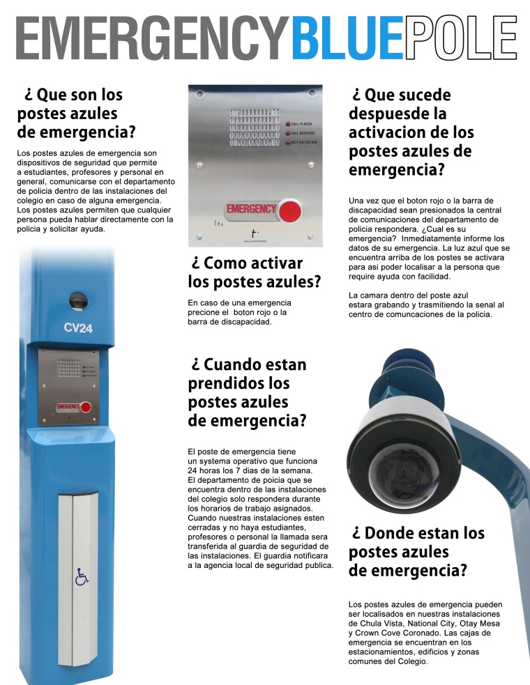 Emergency Blue Pole Spanish