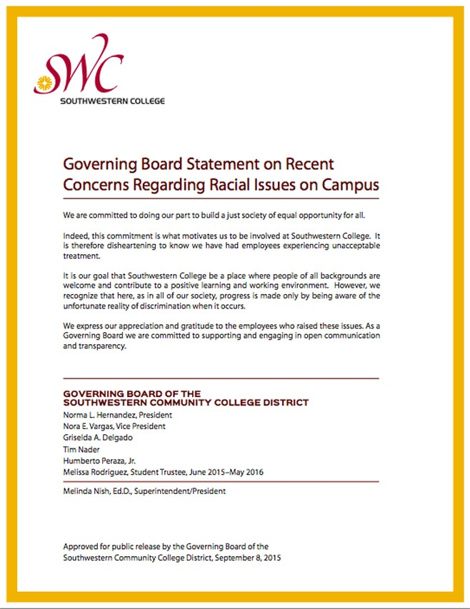 Governing Board Statement on Recent Concerns Regarding Racial Issues on Campus