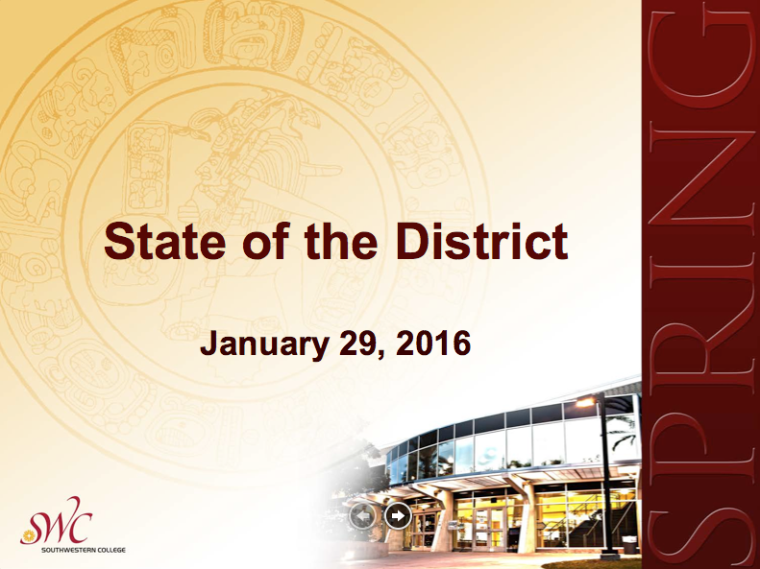 Spring 2016 State of the District