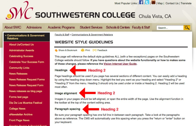 How to use headings on the SWC Website