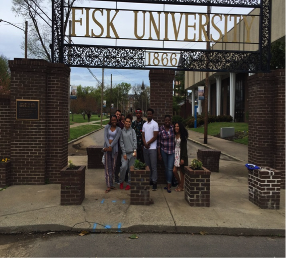 SWC TELA Students standing in front of the gates of Fisk University