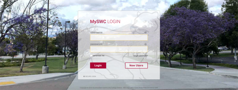 MySWC Login Screen