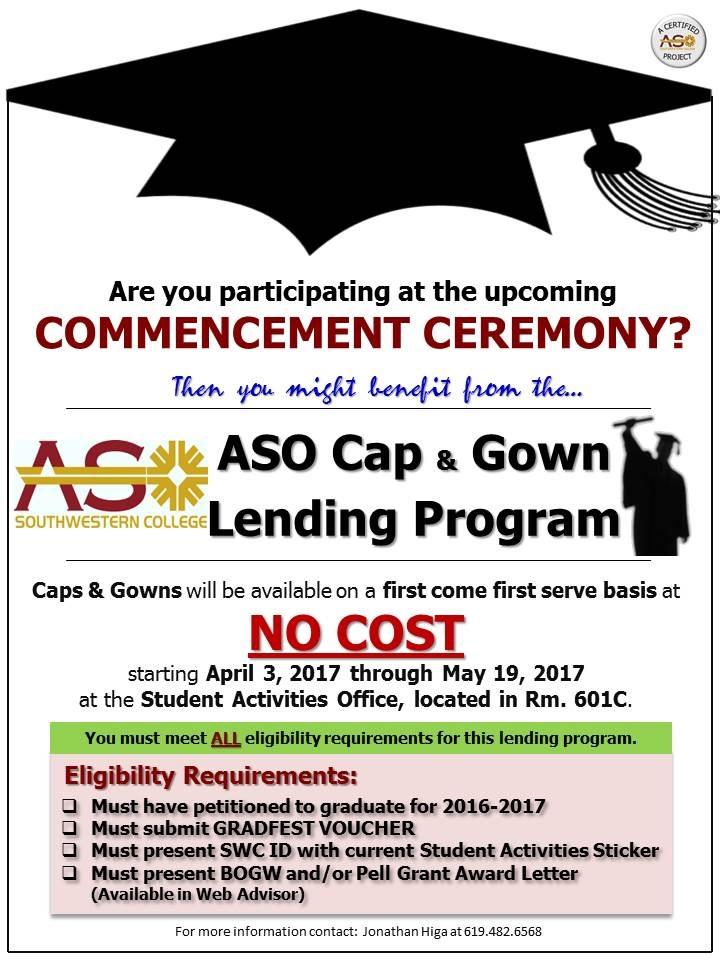 Southwestern College : Event Calendar : ASO Cap & Gown Lending Program