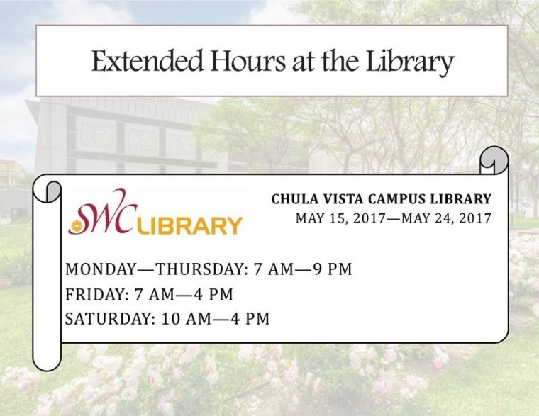 Extended library hours spring 2017