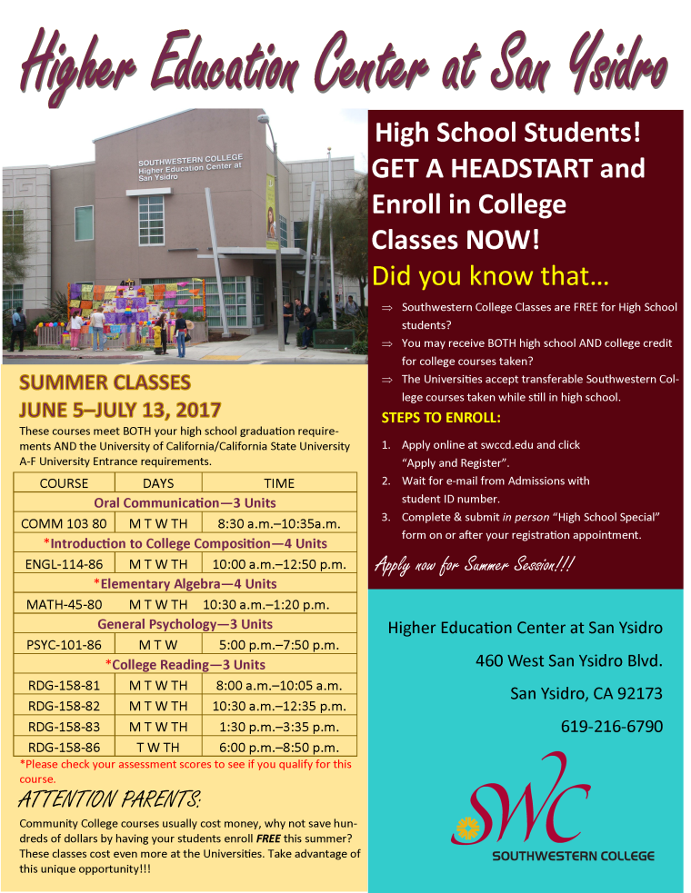 High School Summer 2017 Flyer