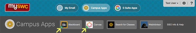 MySWC Portal Campus Apps Buttons