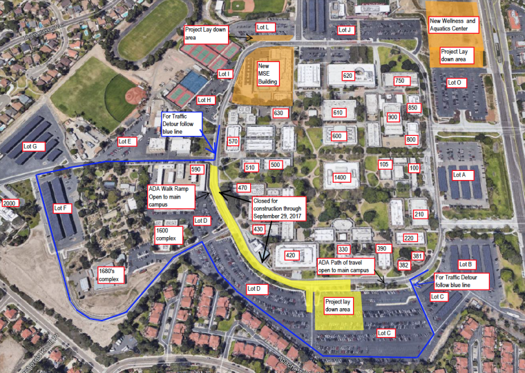 Construction projects on the Chula Vista campus are creating detours along the perimeter road through September 29.