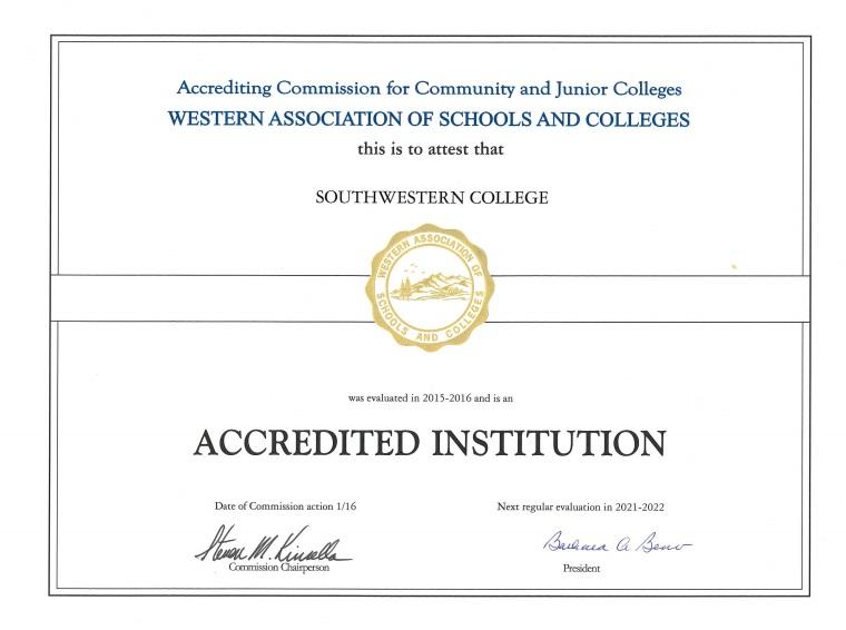 ACCJC Accreditation Certificate 2017