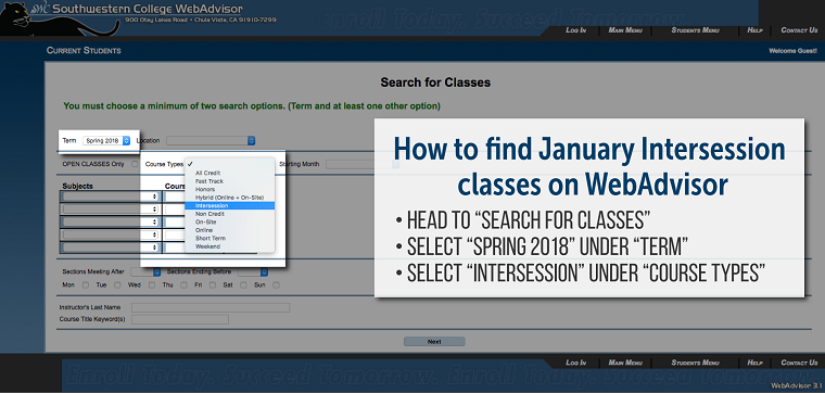How to find intersession on WebAdvisor