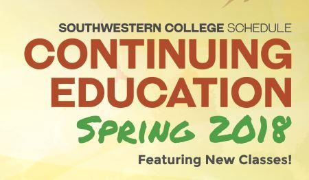 Continuing Education Class Schedule Spring 2018