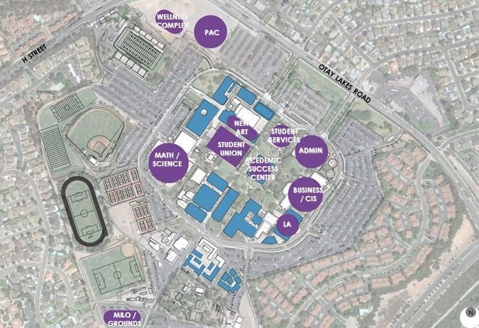 rendering of location of buildings throughout campus