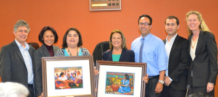 Award winners Norma Hernandez and Sylvia Garcia-Navarette pose with the Governing Board