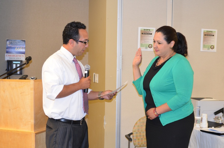 Photo of Nora Vargas being sworn in