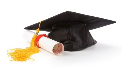 image of mortarboard and diploma with yellow tassle