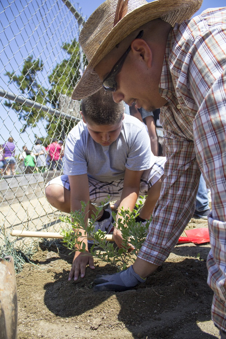 Eduardo Munguia helps students plant