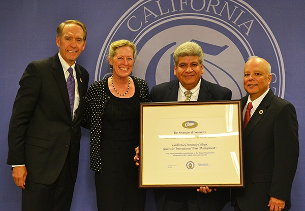 Photo of Dr. Nish, Chancellor Harris, Victor Castillo and BOG President