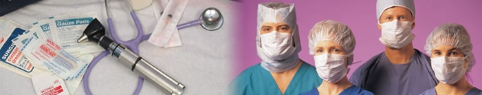 This is a picture of medical equipment and nurses wearing masks.