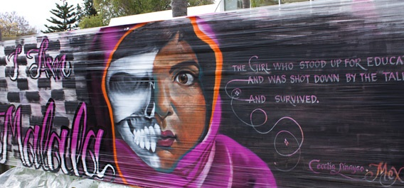 MALALA – The haunting graffiti art that pays tribute to woman activist Malala Yousafzai