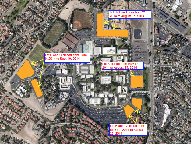 Parking Lot Closures Map