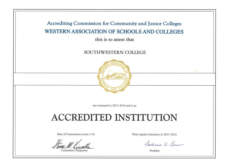 ACCJC Accreditation Certificate 2017
