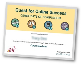 Quest for Success certificate example