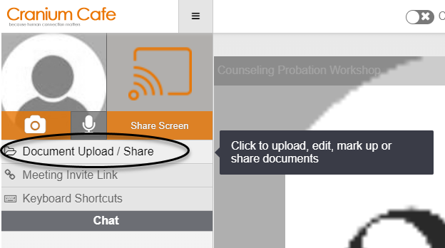 Document Upload/Share button circled
