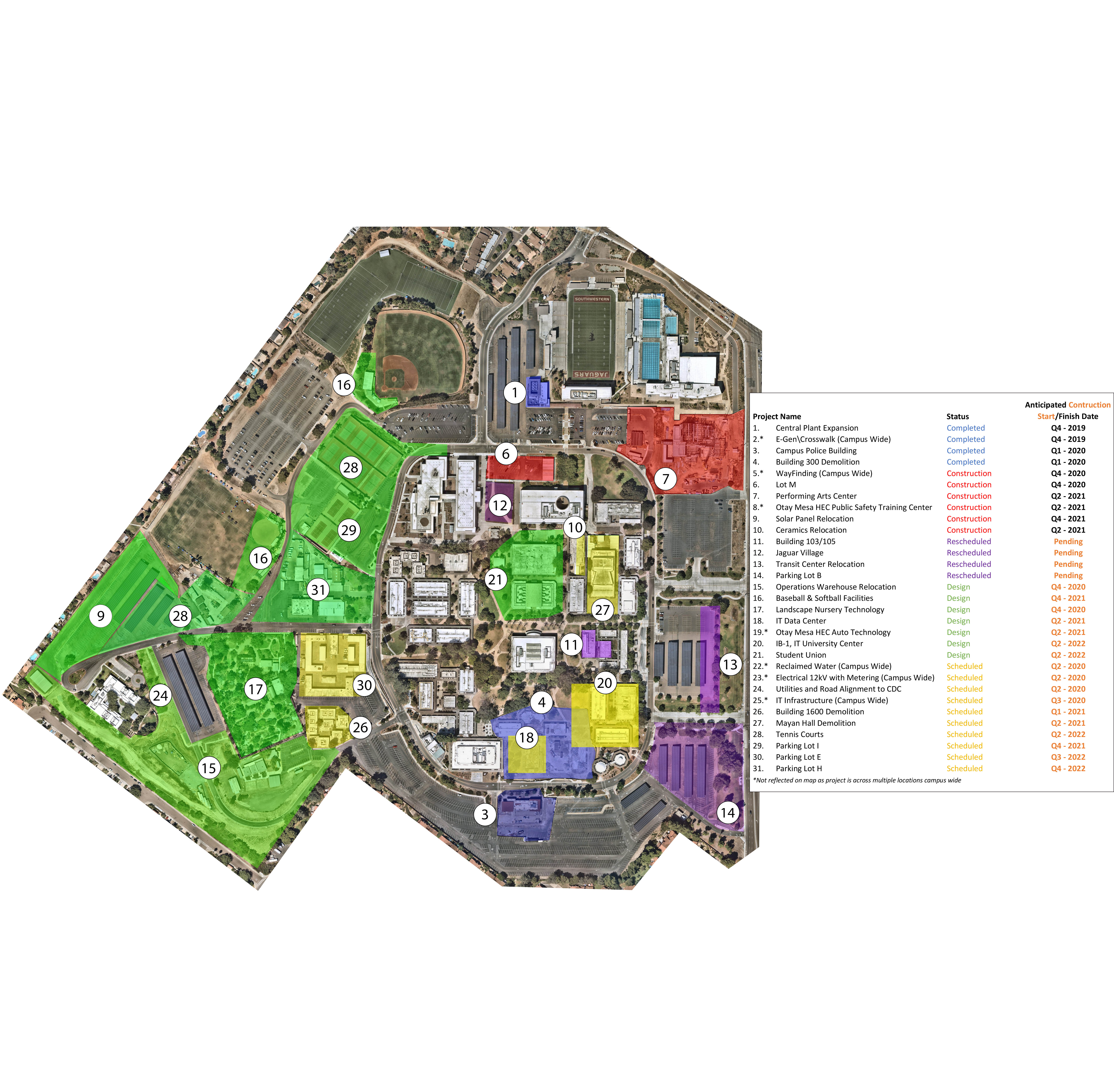 Aerial Activity Map of Southwestern College Main Campus